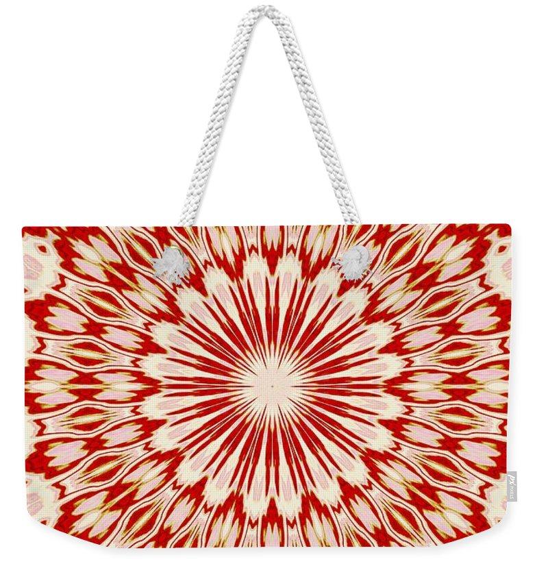 Red Weekender Tote Bag featuring the digital art Kissing Fish Kaleidoscope by Sharon Woerner