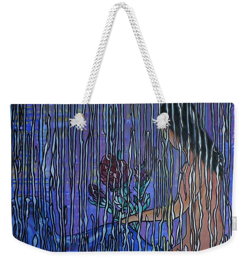 Painting Weekender Tote Bag featuring the painting Kissing Rain by Barbara St Jean