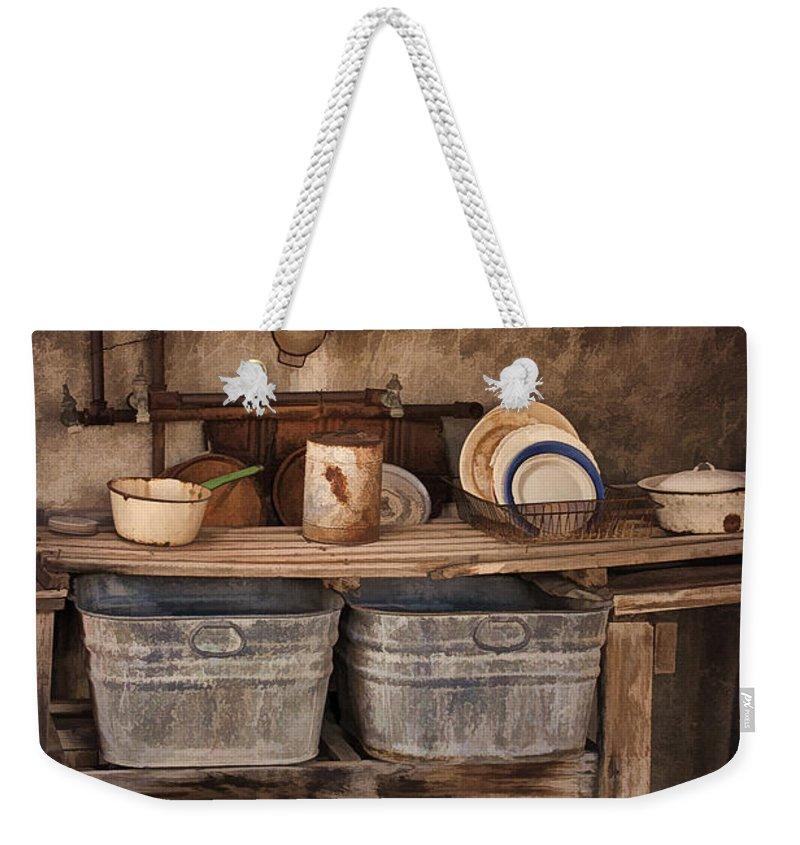Kitchen Weekender Tote Bag featuring the photograph Kitchen Duty by Priscilla Burgers