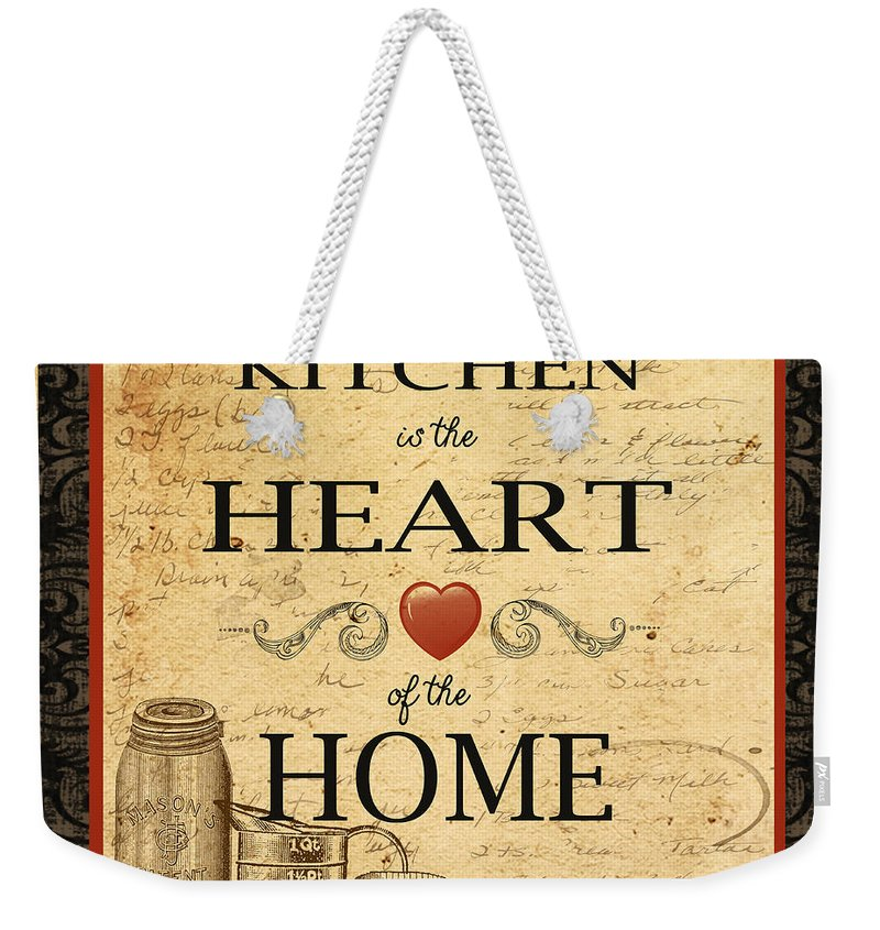 Jean Plout Weekender Tote Bag featuring the painting Kitchen Is The Heart by Jean Plout
