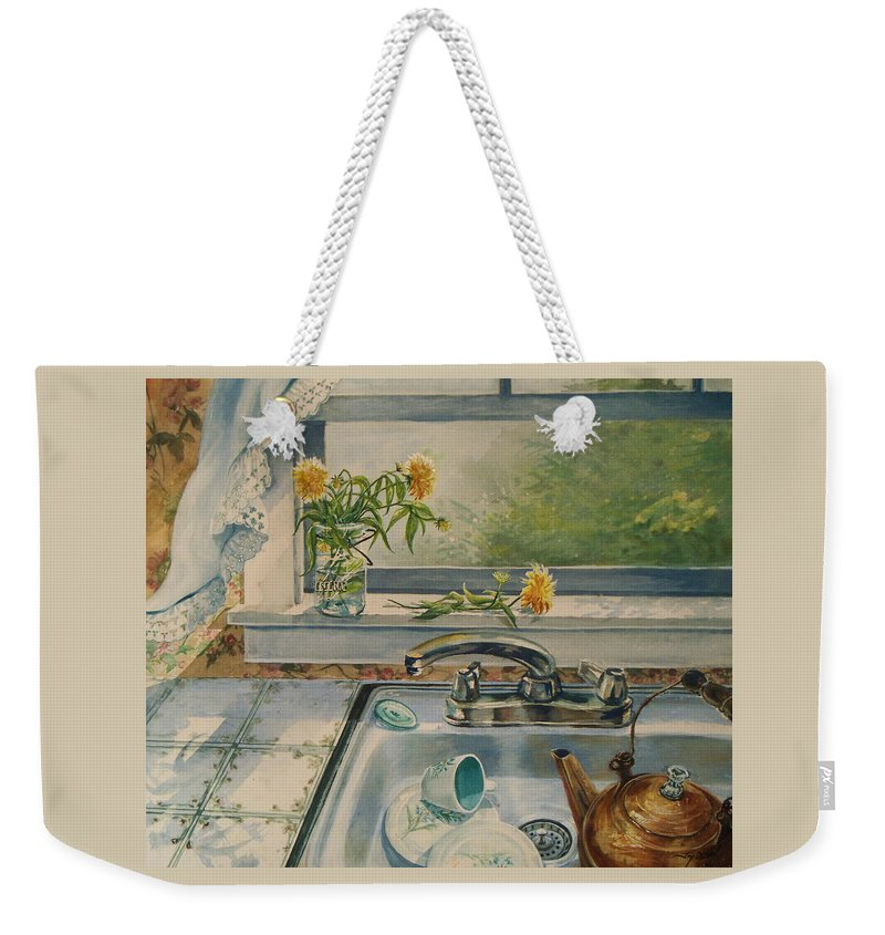 Yellow Flowers Weekender Tote Bag featuring the painting Kitchen Sink by Joy Nichols