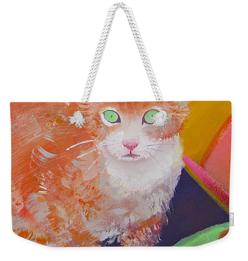 Kittens Weekender Tote Bag featuring the painting kittens With A Ball of Wool by Charles Stuart