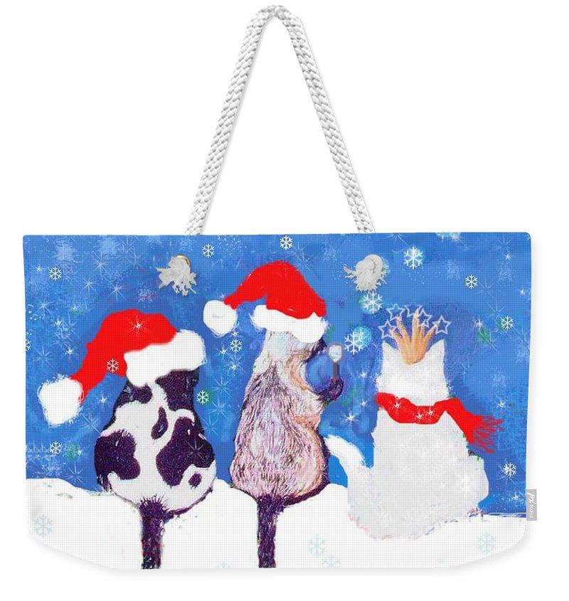 Cats Weekender Tote Bag featuring the digital art Kitty Christmas by Lizi Beard-Ward