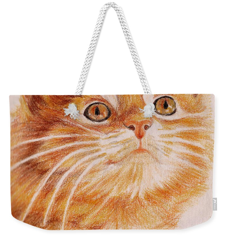 Cats Weekender Tote Bag featuring the painting Kitty Kat Iphone Cases Smart Phones Cells And Mobile Cases Carole Spandau Cbs Art 349 by Carole Spandau