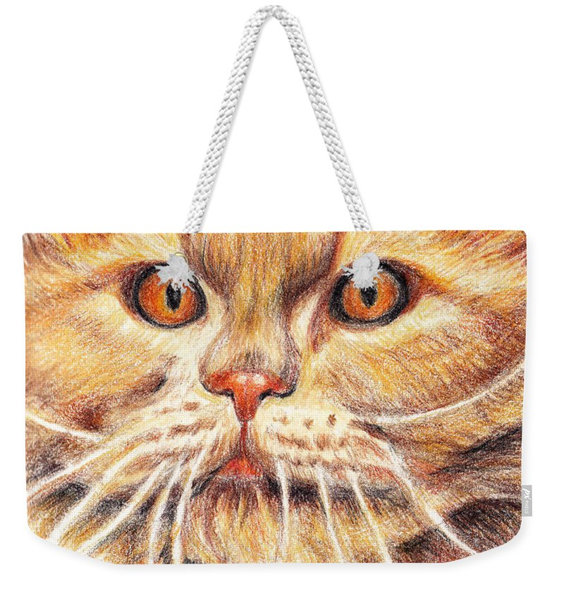 Cats Weekender Tote Bag featuring the painting Kitty Kat Iphone Cases Smart Phones Cells And Mobile Cases Carole Spandau Cbs Art 351 by Carole Spandau