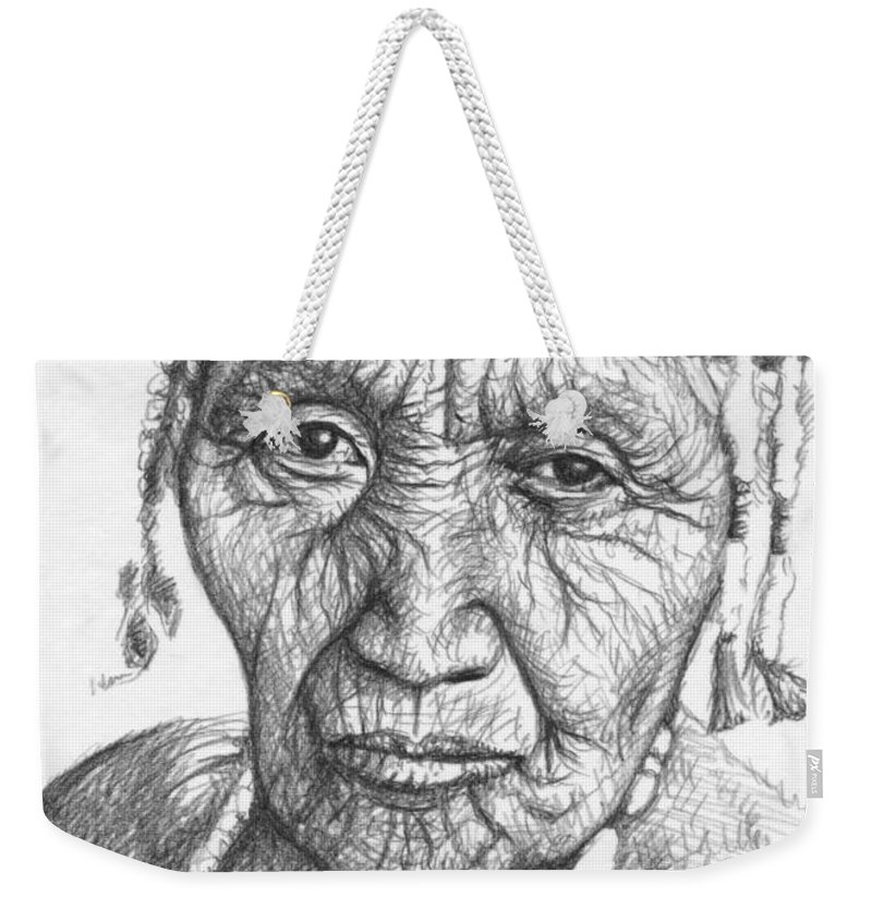 Woman Weekender Tote Bag featuring the drawing Klamath Woman by Nicole Zeug