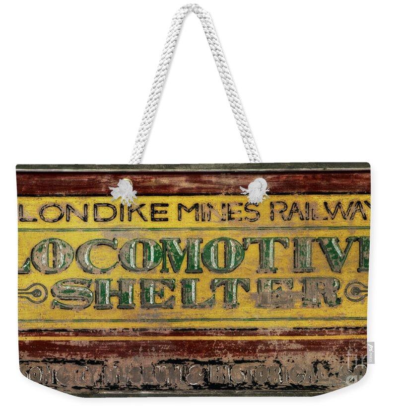 Locomotive Shelter Weekender Tote Bag featuring the photograph Klondike Mines Railway by Priska Wettstein