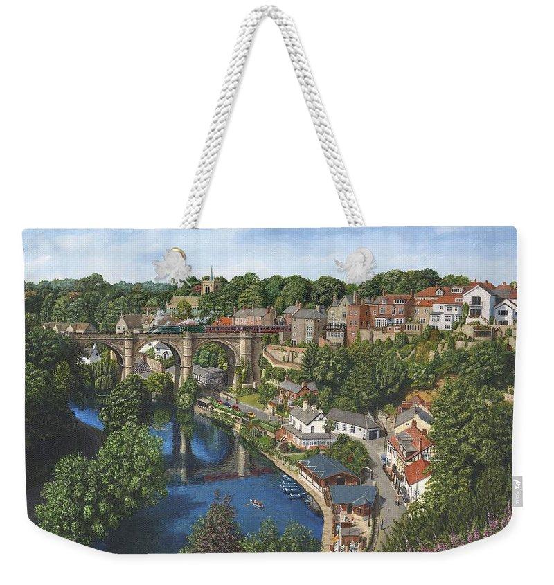 Landscape Weekender Tote Bag featuring the painting Knaresborough Yorkshire by Richard Harpum