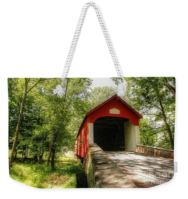 bucks County Weekender Tote Bag featuring the photograph Knecht's Covered Bridge by Traci Law