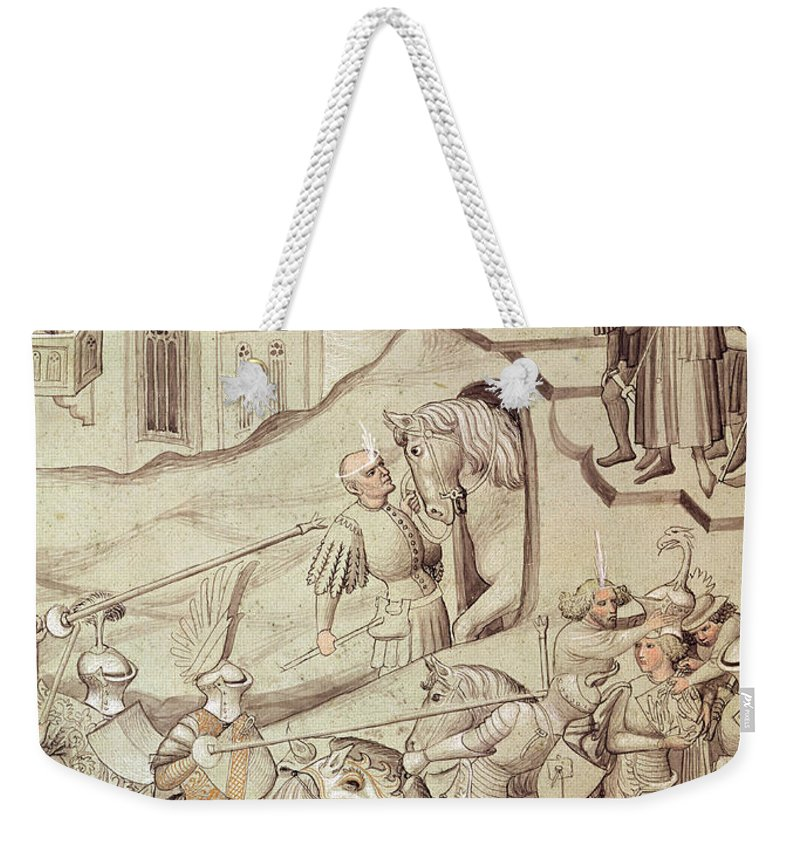 Knight Weekender Tote Bag featuring the painting Knights Jousting by Bohemian School