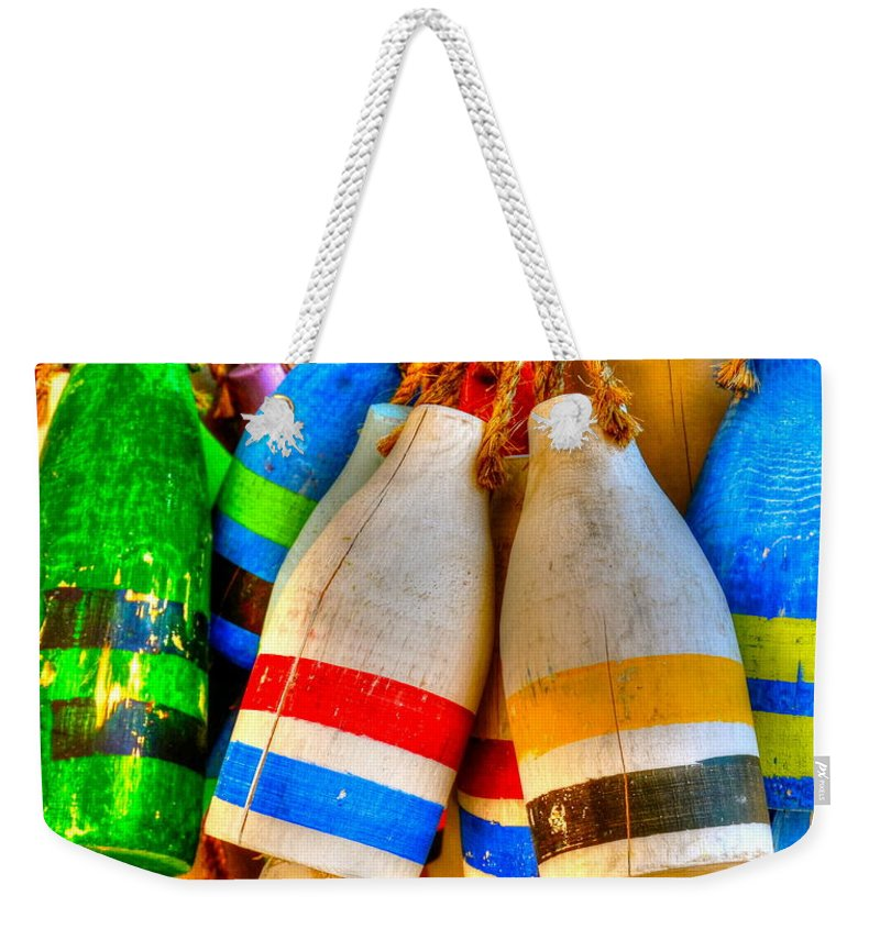 Buoys Weekender Tote Bag featuring the photograph Knotty Buoys by Debbi Granruth