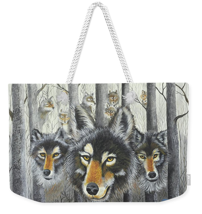 Wolves Weekender Tote Bag featuring the painting Knoxville Wolves by Terry Lewey