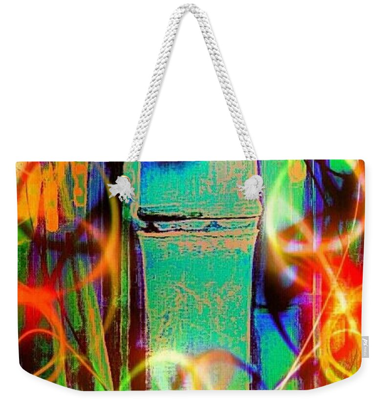 Bamboo Weekender Tote Bag featuring the digital art Knuckle And Smoke by Pamela Smale Williams