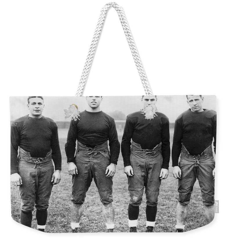 1920's Weekender Tote Bag featuring the photograph Knute Rockne's Backfield by Underwood Archives