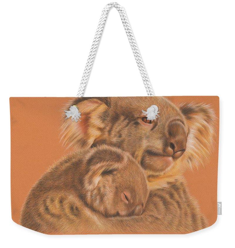Koalas Weekender Tote Bag featuring the drawing Koalas by Genevieve Desy