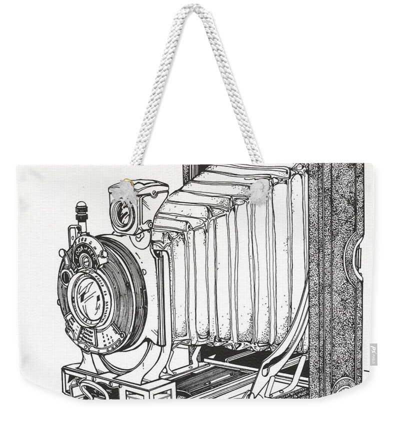 Kodak Weekender Tote Bag featuring the drawing Kodak 3a Autographic by Ira Shander