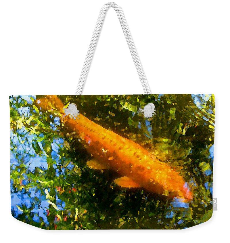 Animal Weekender Tote Bag featuring the painting Koi Fish 1 by Amy Vangsgard