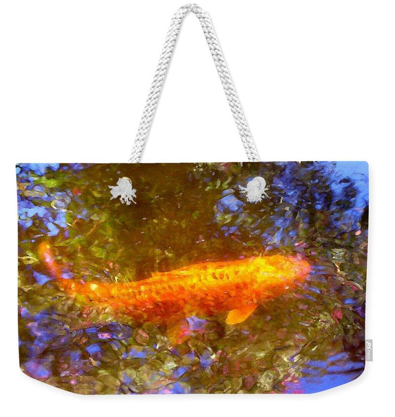 Animal Weekender Tote Bag featuring the painting Koi Fish 2 by Amy Vangsgard