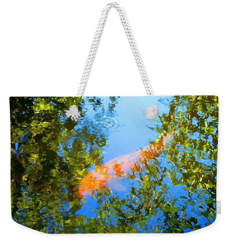 Animal Weekender Tote Bag featuring the painting Koi Fish 3 by Amy Vangsgard