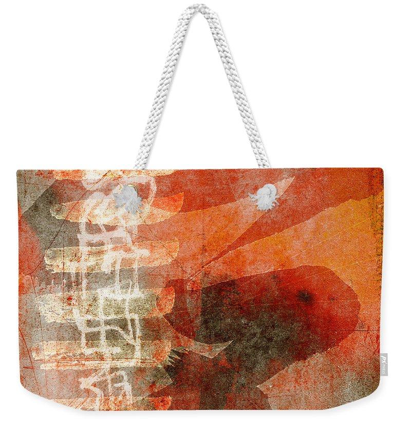Orange Weekender Tote Bag featuring the photograph Koi In Orange by Carol Leigh