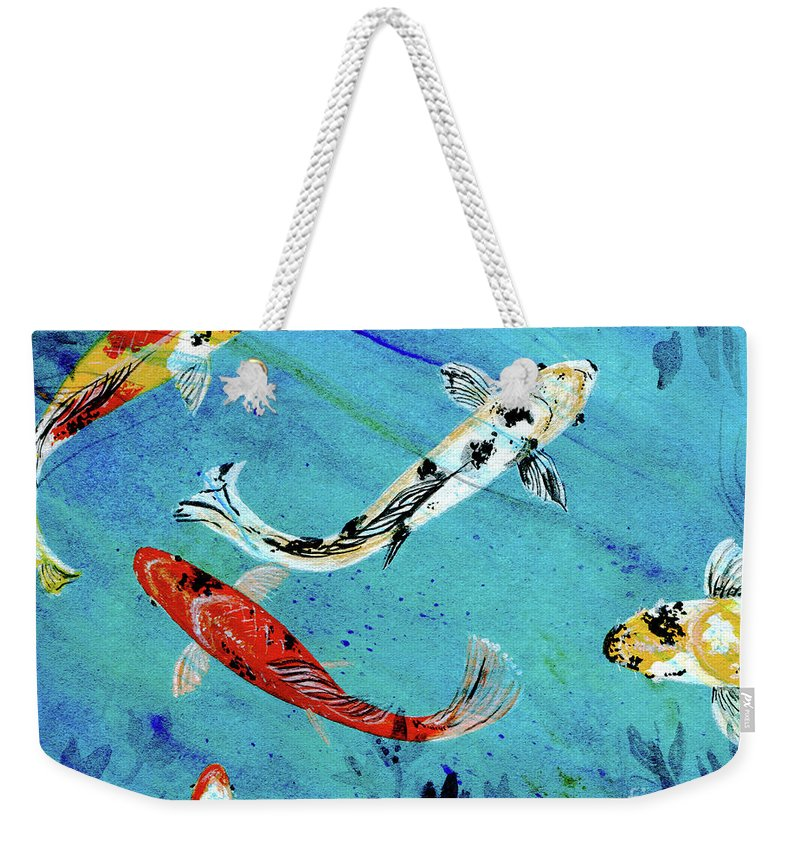Koi Weekender Tote Bag featuring the painting Koi by Lizi Beard-Ward