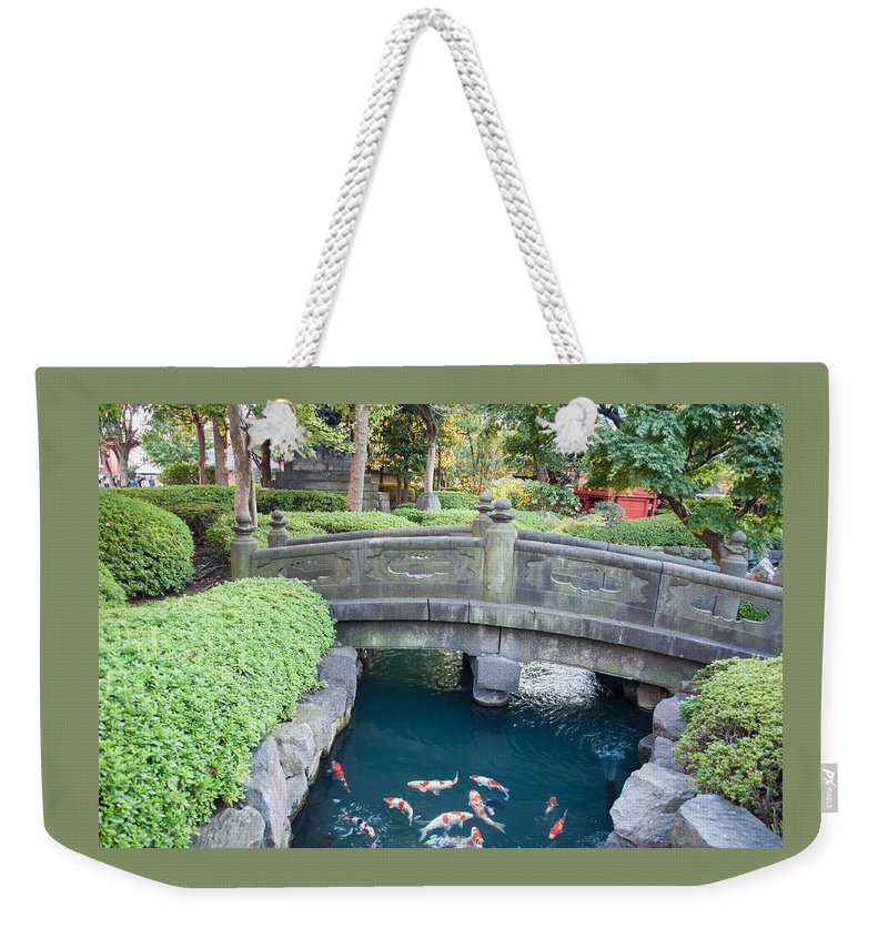 Asakusa Weekender Tote Bag featuring the photograph Koi Pond In Senso-ji Temple Grounds by Jill Mitchell