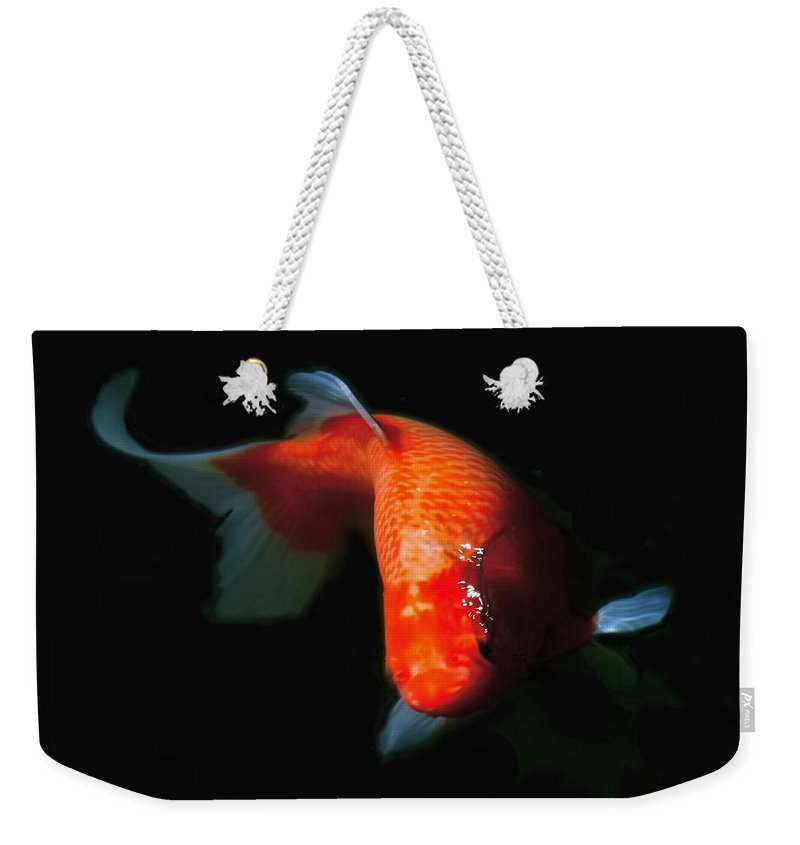 Koi Weekender Tote Bag featuring the photograph Koi by Rona Black
