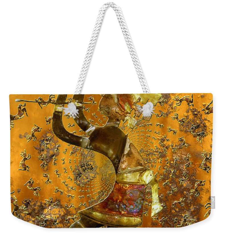 Kokopelli Weekender Tote Bag featuring the photograph Kokopelli by Kurt Van Wagner