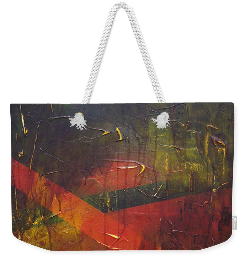 Abstract Weekender Tote Bag featuring the painting Komposition z by Sergey Bezhinets