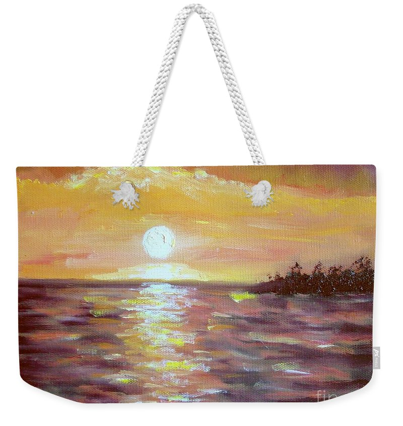 Sunset Weekender Tote Bag featuring the painting Kona Sunset by Laurie Morgan