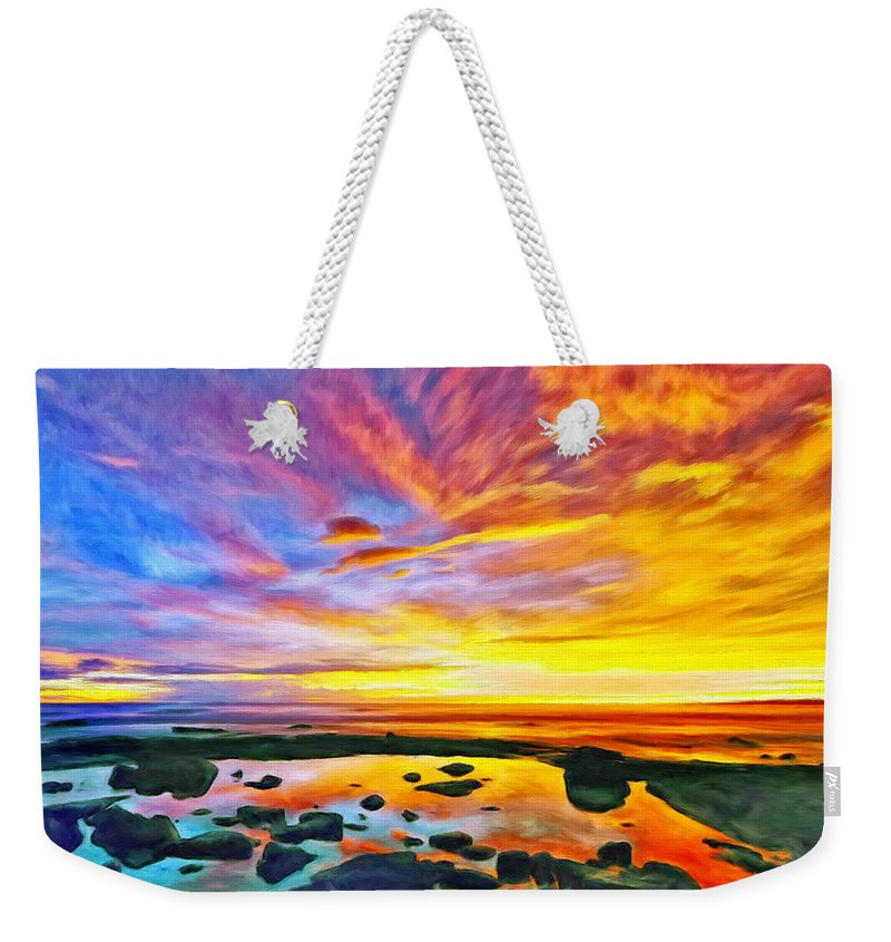 Tidepool Weekender Tote Bag featuring the painting Kona Tidepool Reflections by Dominic Piperata