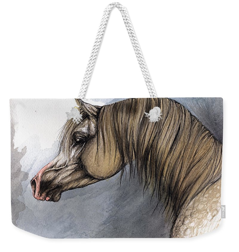Horse Weekender Tote Bag featuring the painting Kordelas by Angel Tarantella
