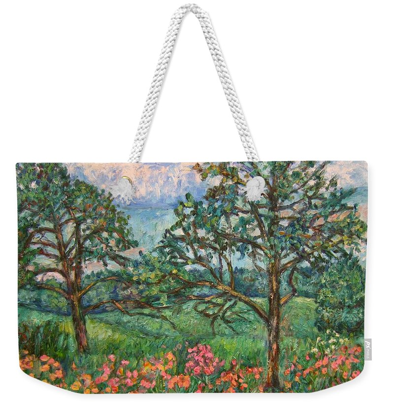 Landscape Weekender Tote Bag featuring the painting Kraft Avenue In Blacksburg by Kendall Kessler