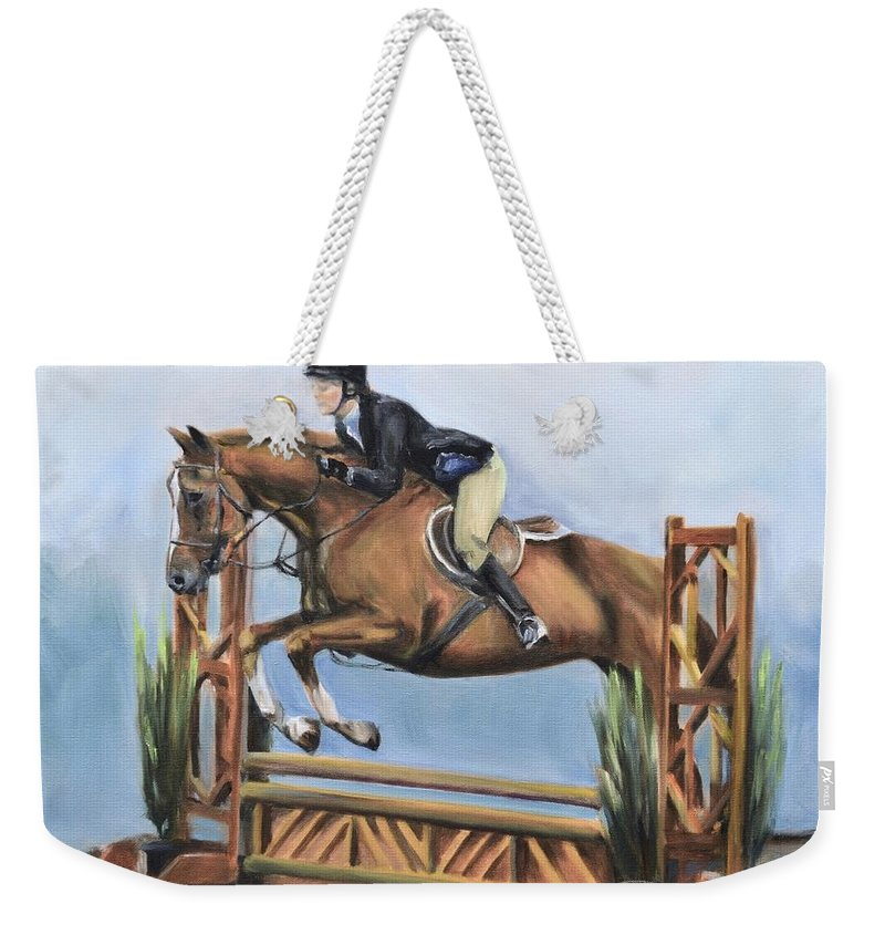 Horse Weekender Tote Bag featuring the painting Kristin And Baghdad by Donna Tuten