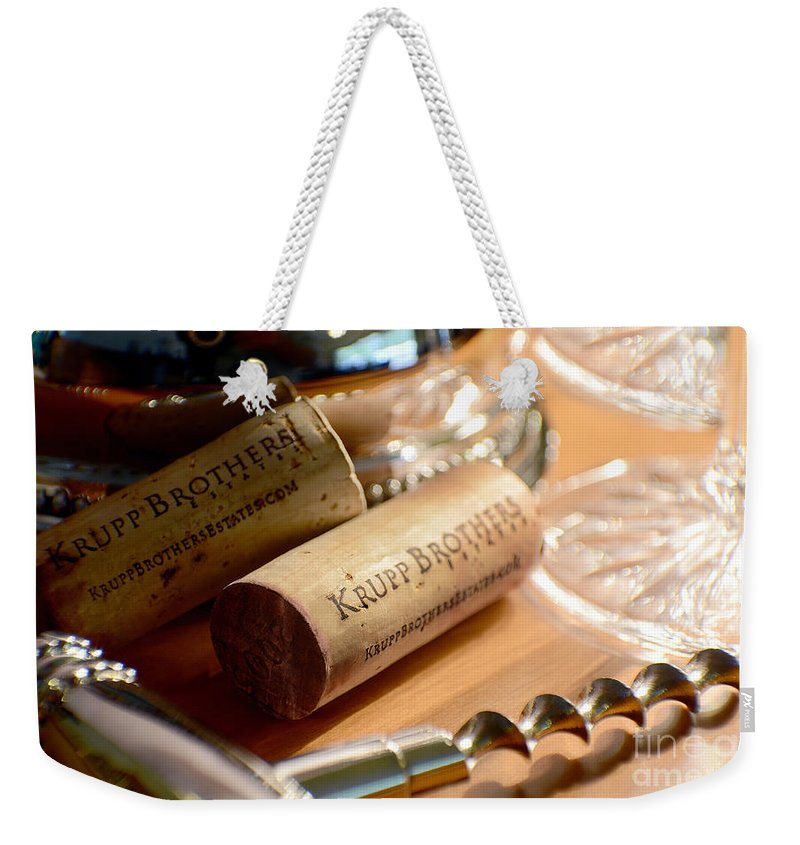Cigar Weekender Tote Bag featuring the photograph Krupp Brothers Uncorked by Jon Neidert