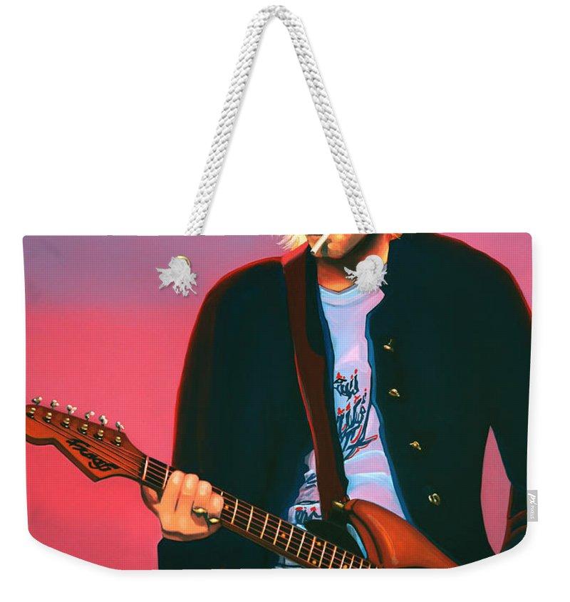 Kurt Cobain Weekender Tote Bag featuring the painting Kurt Cobain In Nirvana Painting by Paul Meijering