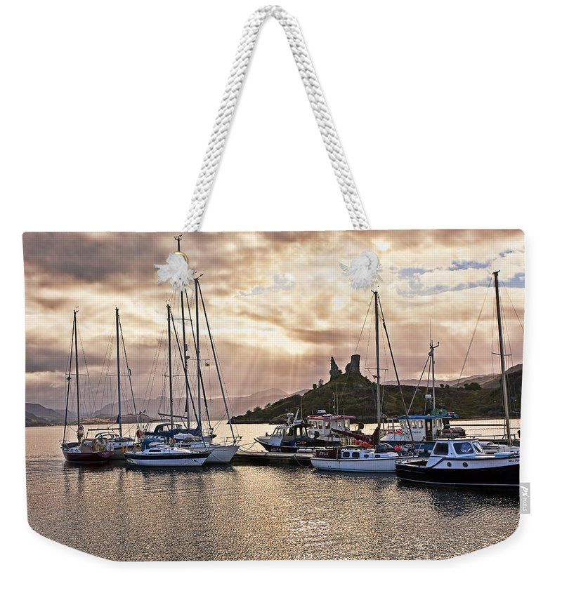 Landscape Weekender Tote Bag featuring the photograph Kyleakin Harbor And Castle Moil by Marcia Colelli