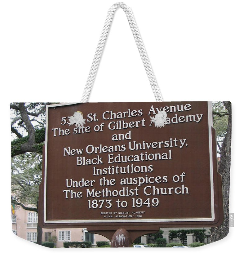Gilbert Academy Weekender Tote Bag featuring the photograph La-005 5318 St. Charles Avenue by Jason O Watson