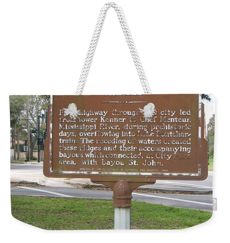 Metairie Ridge Weekender Tote Bag featuring the photograph La-009 Metairie And Gentilly Ridges by Jason O Watson