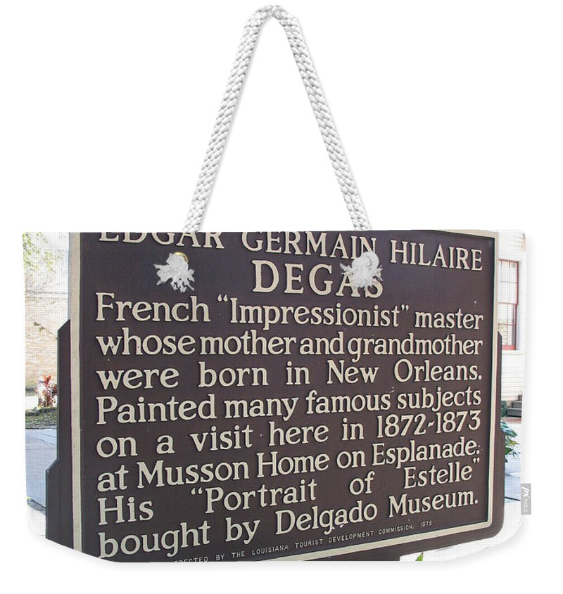 Edgar Degas Weekender Tote Bag featuring the photograph La-012 Edgar Germain Hilaire Degas by Jason O Watson