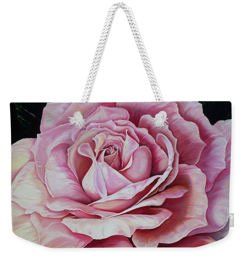 Rose Painting Pink Rose Painting  Floral Painting Flower Painting Botanical Painting Greeting Card Painting Weekender Tote Bag featuring the painting La Bella Rosa by Karin Dawn Kelshall- Best