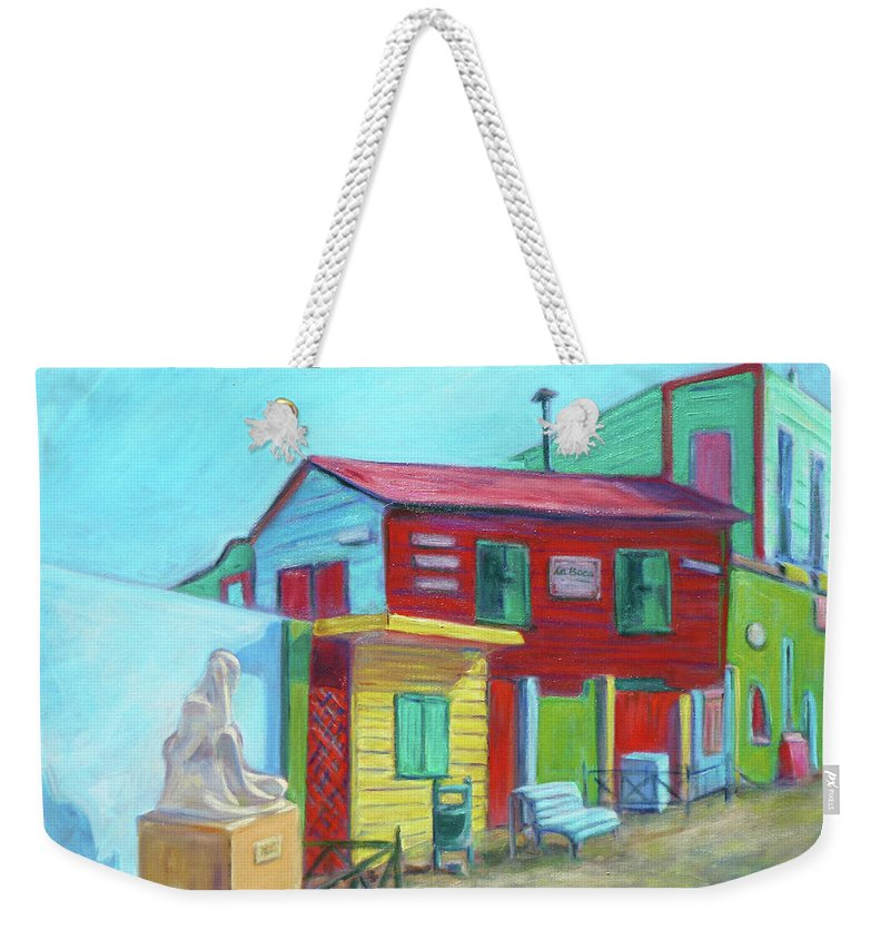 Morning Weekender Tote Bag featuring the painting La Boca Morning I by Xueling Zou