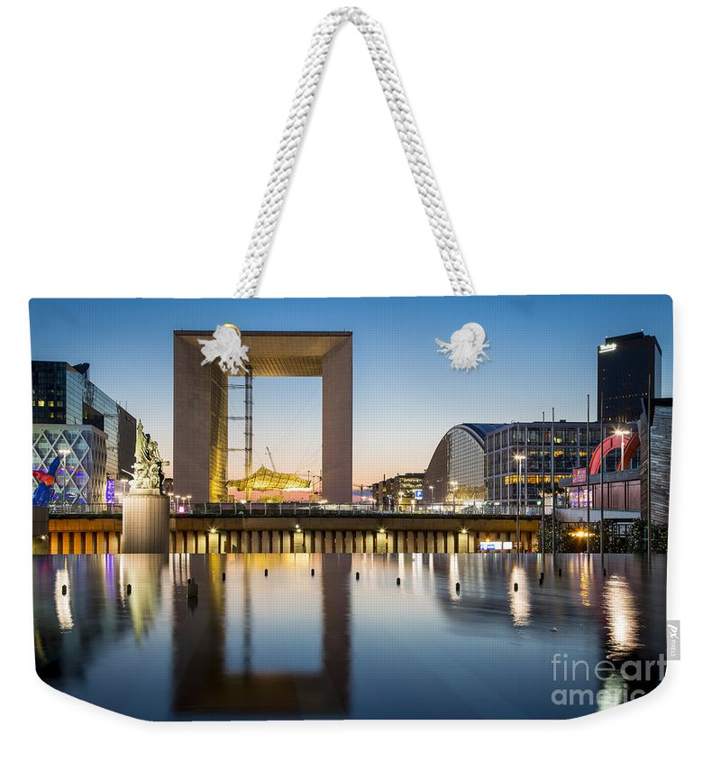 Arch Weekender Tote Bag featuring the photograph La Defense by Brian Jannsen