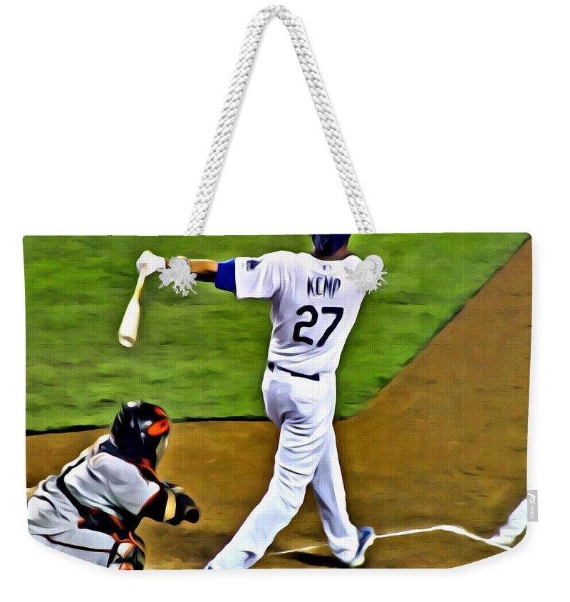 Mlb Weekender Tote Bag featuring the painting La Dodgers Matt Kemp by Florian Rodarte