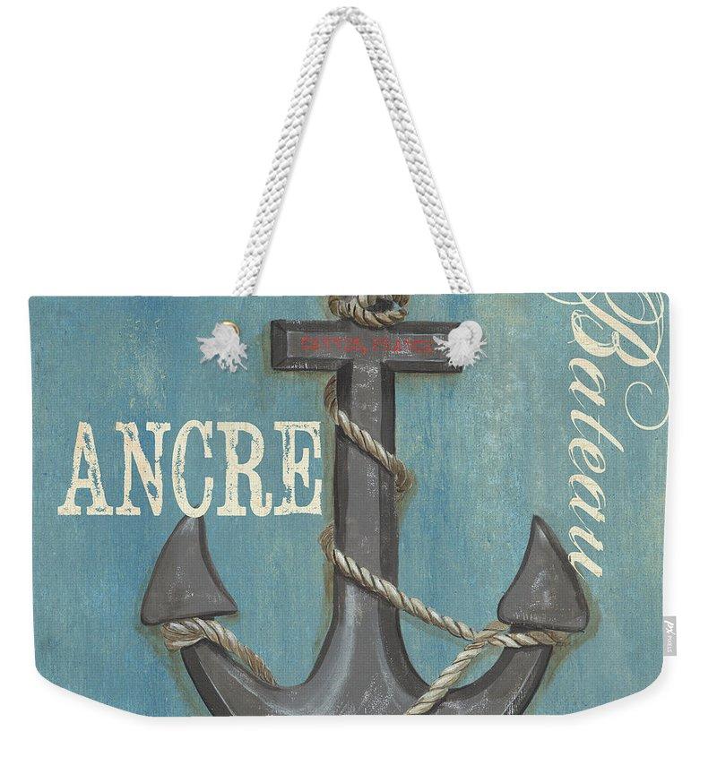 Coastal Weekender Tote Bag featuring the painting La Mer Ancre by Debbie DeWitt