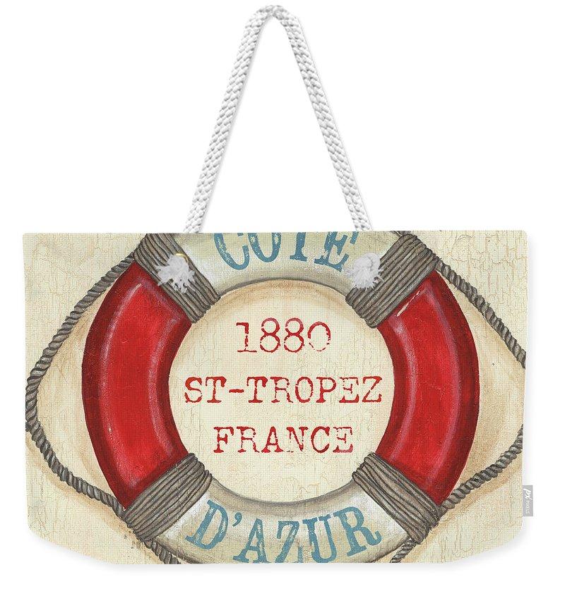 Coastal Weekender Tote Bag featuring the painting La Mer Cote D'azur by Debbie DeWitt