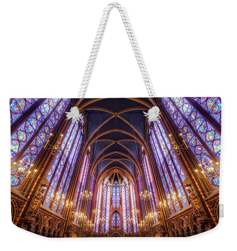 Arch Weekender Tote Bag featuring the photograph La Sainte-chapelle Upper Chapel, Paris by Joe Daniel Price