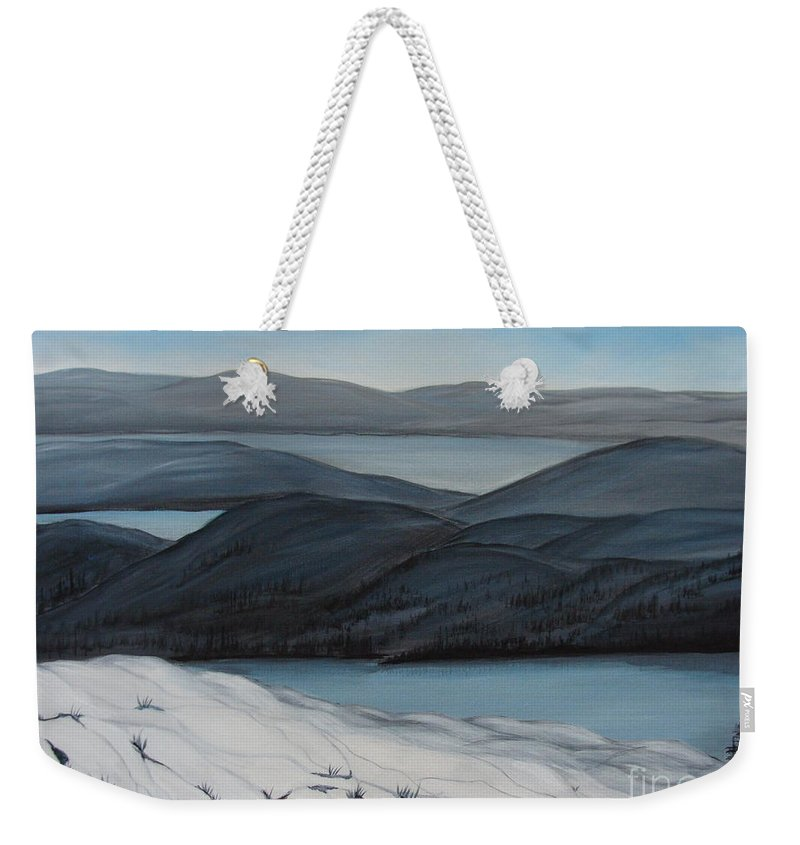 Winter Canvas Prints Weekender Tote Bag featuring the painting Labrador The Big Land by Beverly Livingstone