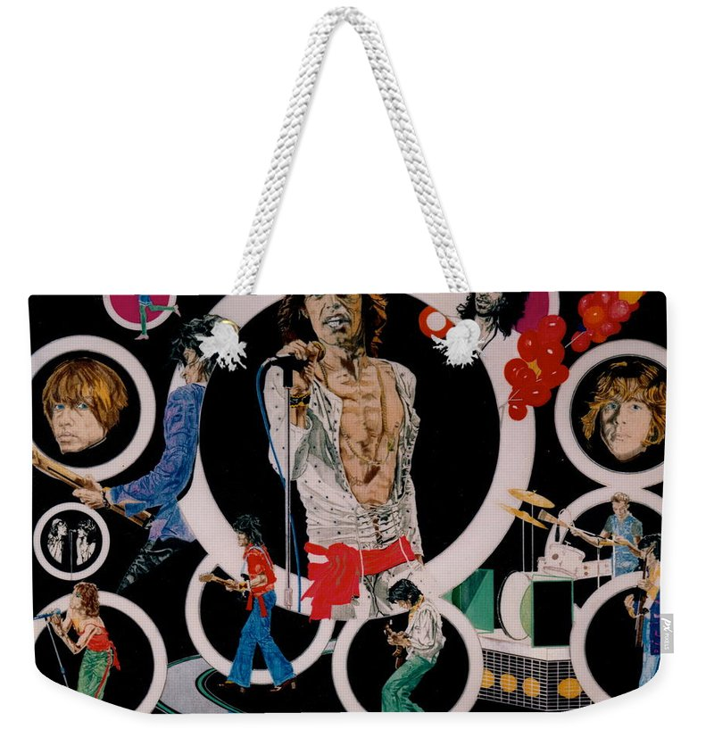 Mick Jagger;keith Richards;brian Jones;charlie Watts;bill Wyman;rock & Roll;music;guitars;water Weekender Tote Bag featuring the drawing Ladies And Gentlemen - The Rolling Stones by Sean Connolly