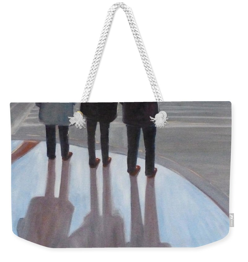 Oregon Weekender Tote Bag featuring the painting Ladies In Red Shoes by Nancy Merkle